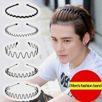 Men Black Metal Spiral Wave Headband Hair Band Hoop Teeth with Accessories F2T2