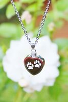 Pet Cremation Jewelry Pendant Urn Ashes NECKLACE Dog Cat Memorial Gift Paw Print