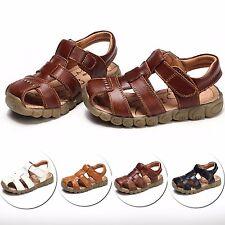 Boy Kids Child Hollow Leather Sandals Oxfords Flats Beach Antislip Shoes