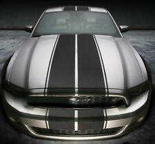 Carbon Fiber Racing Stripe Sticker For Ford Mustang Hood Roof Rear Vinyl Decal