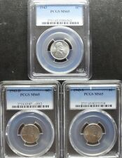 1943 P/D/S  LINCOLN CENT PCGS  MS65  3- COIN SET