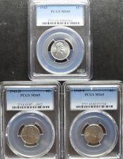1943 P/D/S Lincoln Cent Pcgs Ms65 3- Coin Set