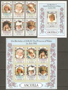 ANGUILLA Sc# 485 - 491 incl 491a MNH FVF Set-6+2x Souv Sheet Princess Diana