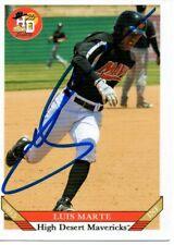 Luis Marte 2015 High Desert Mavericks Autographed Signed Card