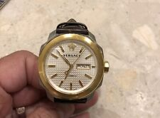 Versace Automatic Mens Watch Gold With Brown Leather Strap
