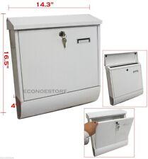"New Wall Mount White Mail Box w/ Retrieval Door & 2 Keys Made Of Steel 14x17x4"""