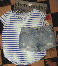 NWT ABERCROMBIE KIDS DENIM HIGH RISE SHORTS & EASY FIT TOP - SZ 12 LARGE