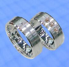 Trauringe , Eheringe mit 3 Steinen , Silber 925 , J17-3