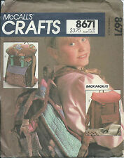 M 8691 sewing pattern retro Designer BACKPACK sew Back Pack contrast fun fabrics