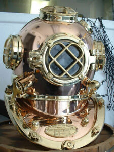 "U.S Navy Copper Brass Diving Divers Helmet Solid Heavy Model Mark V 18"" P216"