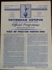 Tottenham Hotspur v Preston North End - 1st Division 01Apr61