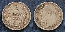 MONETA COIN BELGIO LEOPOLD II° KONING ROI BELGES 2 FRANK 1909 ARGENTO SILVER #1