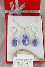 Silber set Ohrringe Anhänger & Original Swarovski Kristallen Leverback Lila