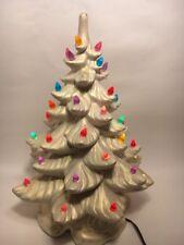 Musical Box Ceramic Lighted White Iridescent Christmas Tree Atlantic Mold