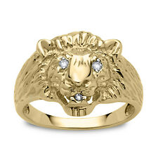 Men's Diamond Accent 10k Yellow Gold Lion's Head Ring NEW
