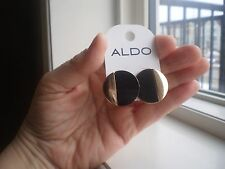 ALDO GOLD TONE & BLACK BUTTON STYLE EARRINGS