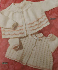 Vintage Knitting Pattern 2 Baby Matinee Coats  D.K. Birth to 3 months  S3028