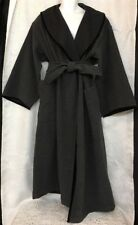 Claude Montana Coat Long Gray With Black Trim Bell Sleeve Tie Wool Blend S-8