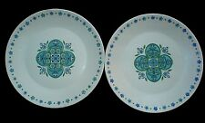 J&G MEAKIN IMPACT Retro Blue/Green Patt Jessie Tait 10 inch Plates x 2  c1960/70