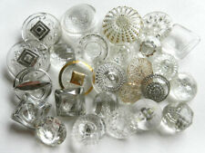 New listing Lot Vintage Clear Glass Buttons Some w/ Silver Gold Luster Accents 9/16 to 1-1/8