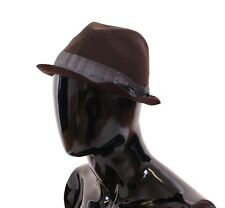 NWT $240 DOLCE & GABBANA Brown Wool Logo Fedora Trilby Hat Cappelo s. 57 / S