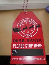 Dear Santa Gift Tag Shaped Pressboard Wood Christmas Sign Decor
