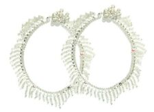 """Indian Womens Jewelry Anklets 10"""" L 1 Pair Silver-toned Chain Anklet Payal Gift"""
