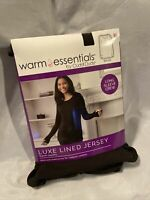 Womens Black Warm Essentials Cuddl Duds Crew Neck Luxe Lined Jersey Shirt Size L