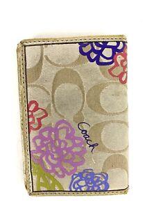 Coach Signature Poppy Daisy Beige Gold Trim Slim Bifold Card Holder Wallet