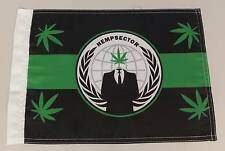 "Mini Anonymous Hempsector hempsec flag 420 weed leaf 15"" by 12"" Anon 4chan"