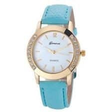 Ladies Fashion Geneva Quartz Gold and Crystal Sky Blue Band Wrist Watch.