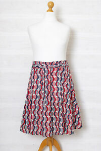 White Stuff XL Flared Belted Summer Skirt Cotton Red White Blue