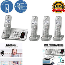 Panasonic Link2Cell Bluetooth Cordless DECT 6 Expandable Phone 4 Handsets Silver