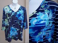 Catherines NEW $58 tunic gems top plus size 3x vneck SPRING floral shirt blouse