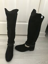 Black Knee High Chain Boots Size 6 Brand New With Tags