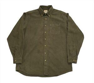 Vintage L.L. Bean USA Khaki Green Flannel Pocket Shirt - Large (Tall)