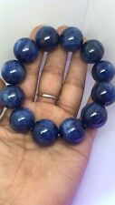 Natural Blue Kyanite Crystal Cat Eye Beads Stretch Bracelet 18mm AAAA