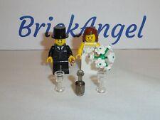 NEW LEGO Bride & Groom Mini Figures Wedding Favor Ring Flowers Cake Topper Lot 2