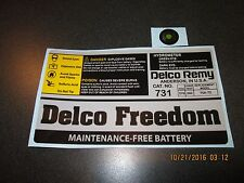 Delco Freedom 731 Battery Decal Set. Mid 80s through 90s  AC Delco Remy replica