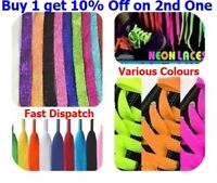 Flat Coloured Shoe Bootlaces Trainer Skate Laces Choice of Colours New Shoelaces