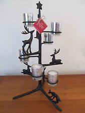 Pottery Barn Antique Bronze REINDEER ~ Christmas~ TREE VOTIVE CANDLE HOLDER, NEW