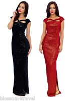 KDK Black Sequin Velour Knot Detail Full Length Formal Maxi Evening Dress Prom