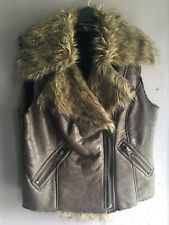 Ax Paris Brown Faux Leather Fur Collar Zip Front Gilet Size 12