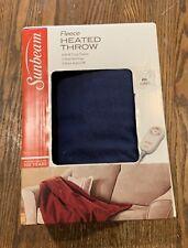 Sunbeam Fleece Heated Throw Tan Electric Blanket Heat Warm Soft