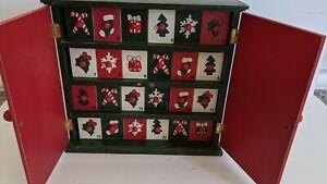 Wooden Advent Calendar Christmas Closet with 25 doors Countdown Holiday Decor
