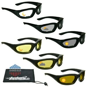 Transition Photochromic Motorcycle Sunglasses Biker Day Night Glasses XS Small