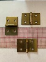 "Vintage Salvage heavy brass Hinges Lot of 3 continuous stop 2""  x 1.25"""