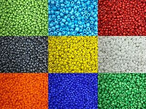 50g glass seed beads - Matte Opaque, size 6/0 (approx 4mm) - choice of colours