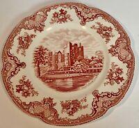 "Johnson Bros England 10"" Dinner Plate Old Britain Castles Blarney Castle Red"