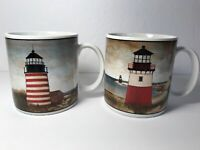 David Carter Brown Set of 2 By The Sea Lighthouse Mugs Sakura Coffee Cups